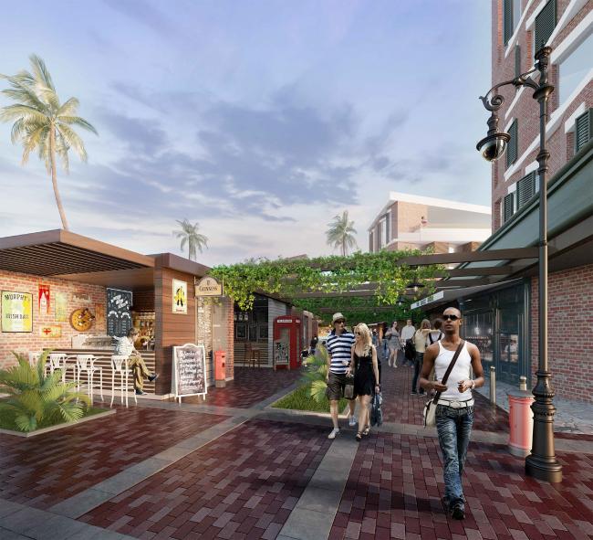 "Development of the territory of ""Paradise Waters"" resort. The pedestrian street next to the hotel © Arhitekturium"