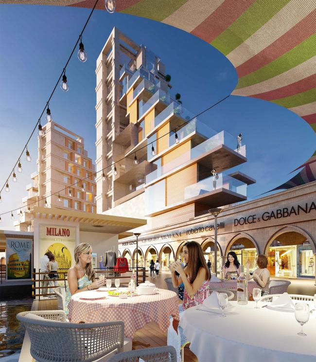 Развитие территории курорта Paradise waters. Вид на отель в «итальянском стиле» со стороны пешеходной улицы © Архитектуриум
