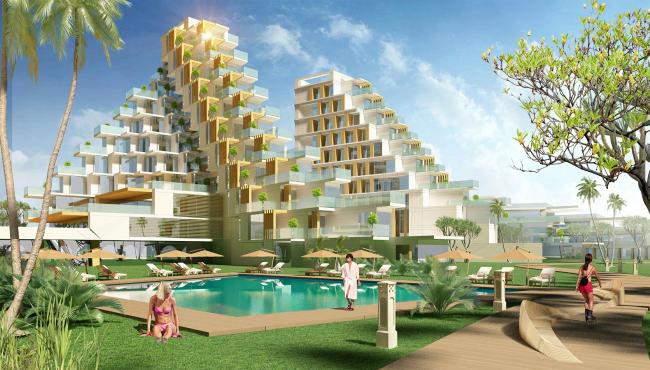 Развитие территории курорта Paradise waters. Вид на отель в «итальянском стиле» со стороны моря © Архитектуриум