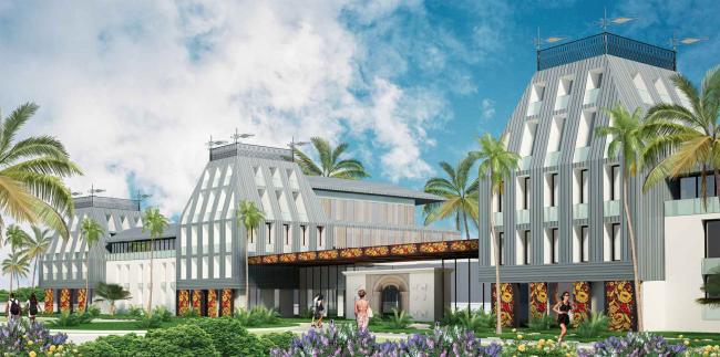 Развитие территории курорта Paradise waters. Вид на отель в «русском стиле» со стороны пешеходной улицы © Архитектуриум
