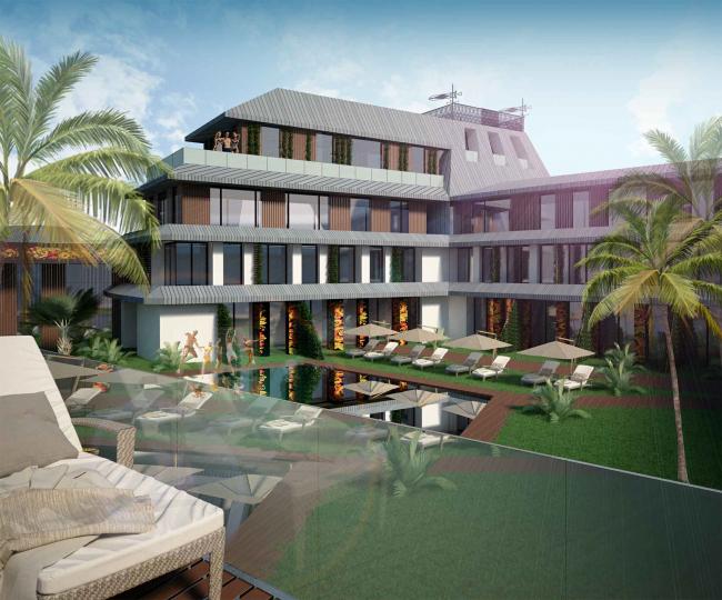 Развитие территории курорта Paradise waters. Вид на отель в «русском стиле», внутреннее пространство © Архитектуриум