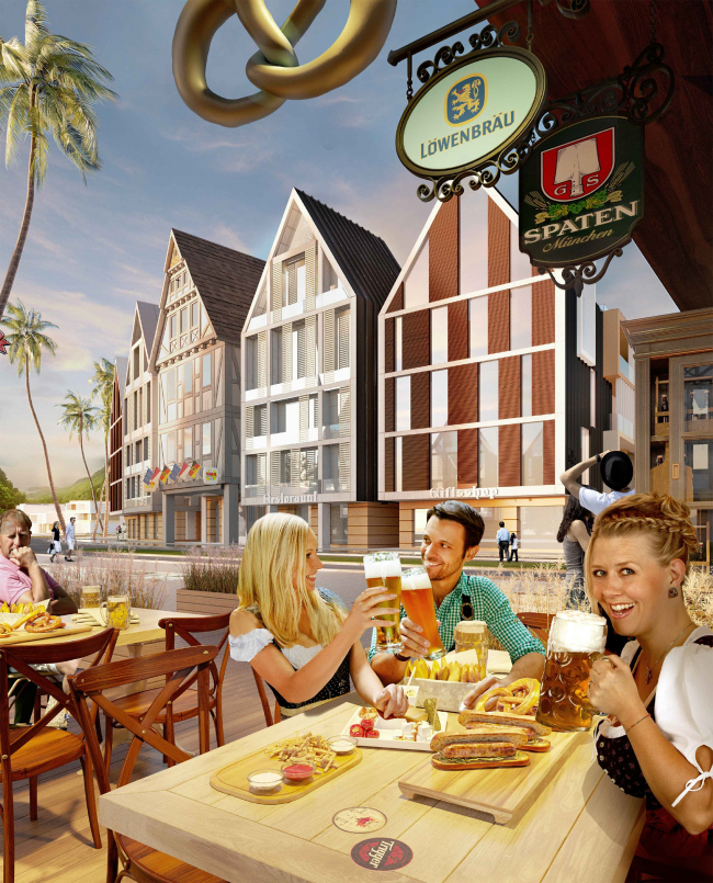 """Development of the territory of """"Paradise Waters"""" resort. The """"German"""" hotel, view from the pedestrian street © Arhitekturium"""
