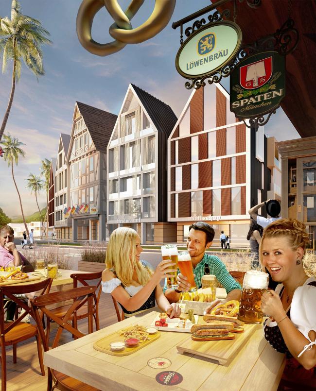 Развитие территории курорта Paradise waters. Вид на апартаменты в «немецком стиле» со стороны пешеходной улицы © Архитектуриум
