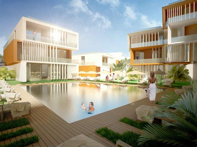 "Development of the territory of ""Paradise Waters"" resort. The ""German"" hotel, the inside space © Arhitekturium"