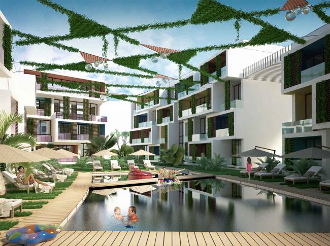 "Development of the territory of ""Paradise Waters"" resort. The ""French"" hotel © Arhitekturium"