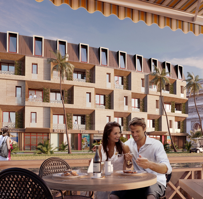 """Development of the territory of """"Paradise Waters"""" resort. The """"French"""" hotel, view from the pedestrian street © Arhitekturium"""