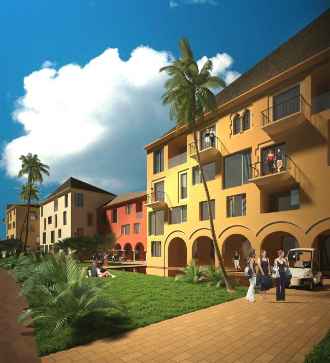 Развитие территории курорта Paradise waters. Вид на апартаменты в «испанском стиле» со стороны пешеходной улицы © Архитектуриум