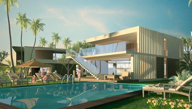 "Development of the territory of ""Paradise Waters"" resort. The villa © Arhitekturium"