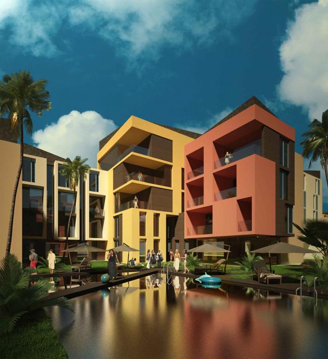 Развитие территории курорта Paradise waters. Вид на апартаменты в «испанском стиле», внутреннее пространство © Архитектуриум