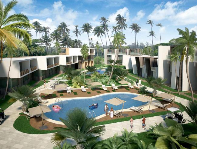 Развитие территории курорта Paradise waters. Вид на группу таунхаусов © Архитектуриум