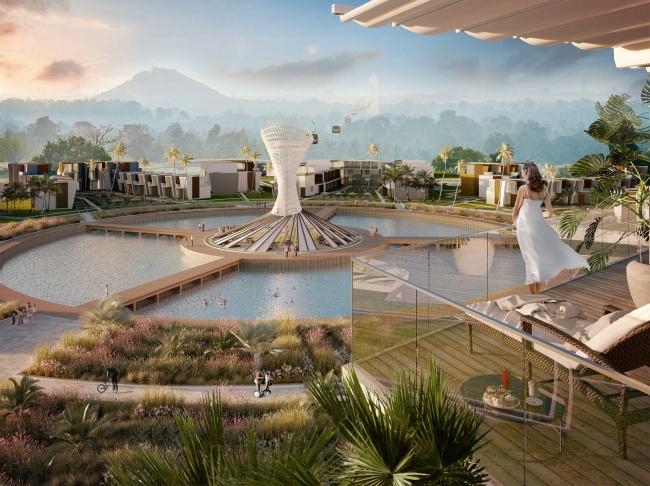 Развитие территории курорта Paradise waters. Вид на фуникулер © Архитектуриум