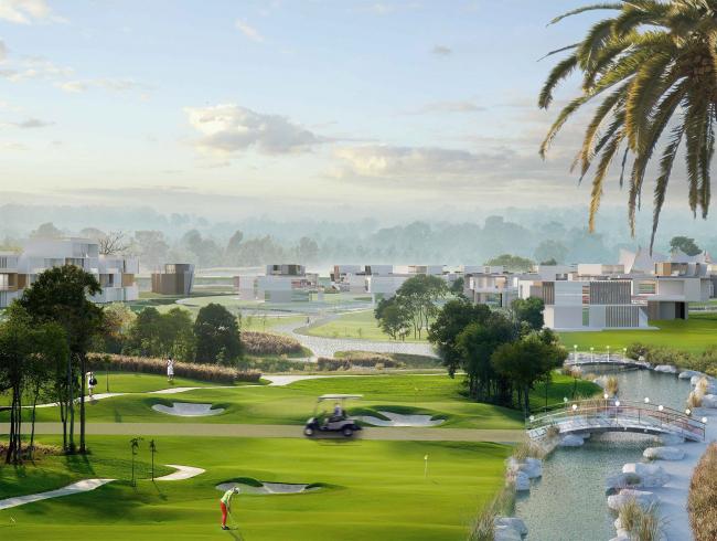 Развитие территории курорта Paradise waters. Вид на гольф-поле © Архитектуриум