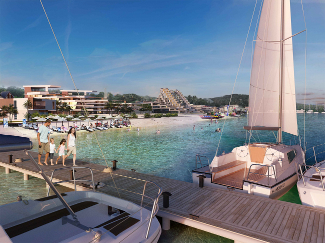 """Development of the territory of """"Paradise Waters"""" resort. View from the pier © Arhitekturium"""