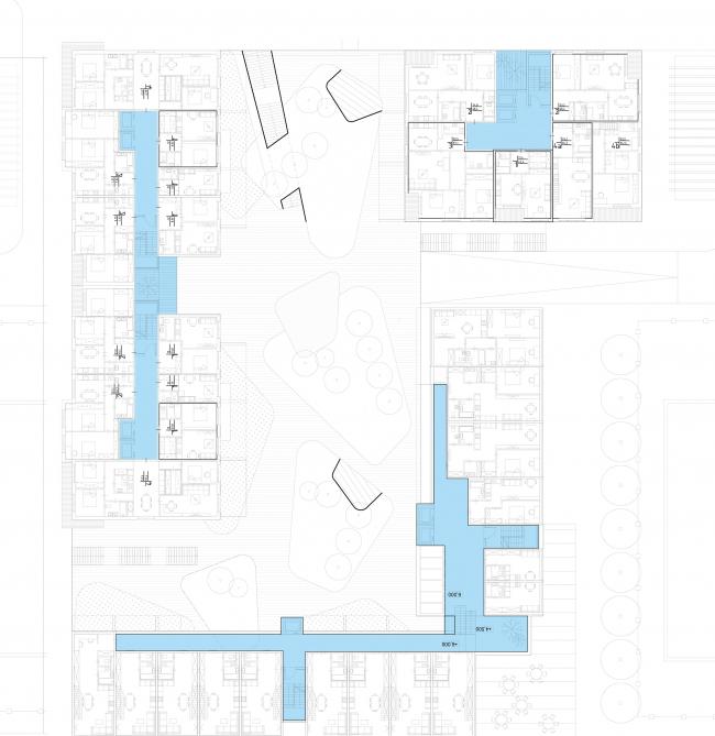 Центральная модель застройки. План типового этажа © Pole Design