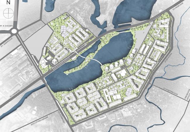Эскиз застройки территории заводов «Химволокно» и «Пластполимер». Схема рекреационных пространств и зеленых насаждений