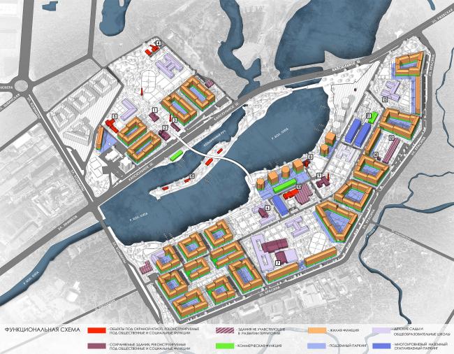 Эскиз застройки территории заводов «Химволокно» и «Пластполимер». Функциональная схема