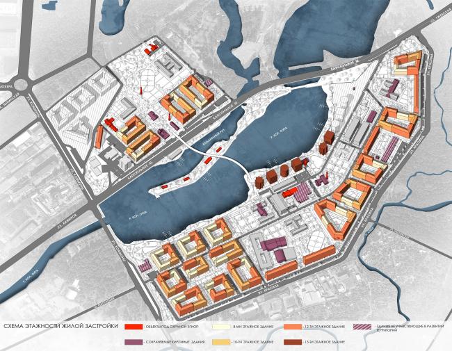 Эскиз застройки территории заводов «Химволокно» и «Пластполимер». Схема этажности жилой застройки