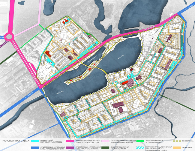 Эскиз застройки территории заводов «Химволокно» и «Пластполимер». Транспортная схема