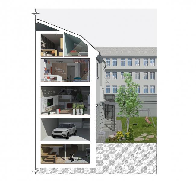 Реконструкция дома в Нижнем Новгороде. 3D разрез © Проект Марины и Сергея Туманиных