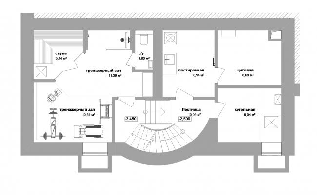 Реконструкция дома в Нижнем Новгороде. План -1 этажа © Проект Марины и Сергея Туманиных
