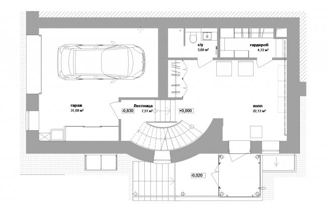 Реконструкция дома в Нижнем Новгороде. План 1 этажа © Проект Марины и Сергея Туманиных