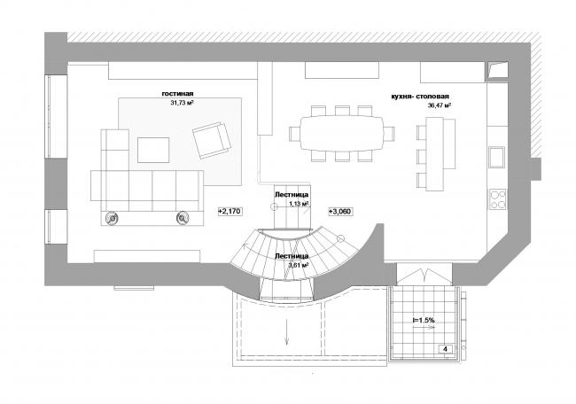 Реконструкция дома в Нижнем Новгороде. План 2 этажа © Проект Марины и Сергея Туманиных