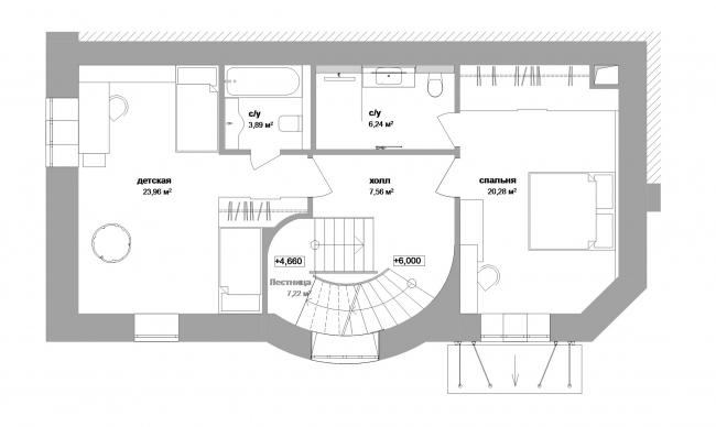 Реконструкция дома в Нижнем Новгороде. План 3 этажа © Проект Марины и Сергея Туманиных
