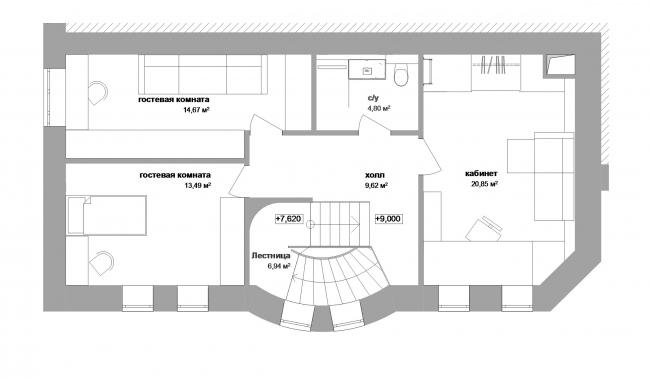 Реконструкция дома в Нижнем Новгороде. План 4 этажа © Проект Марины и Сергея Туманиных