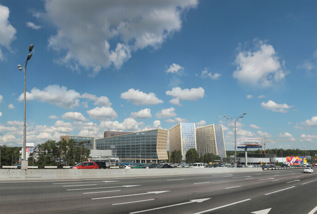 Hotel and business complex on the Rublevo-Uspenskoe Highway. Photo visualization. View from the Moscow Ring Road © Sergey Kisselev and Partners