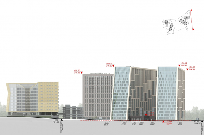 Hotel and business complex on the Rublevo-Uspenskoe Highway. Development drawing along the Rublevskoe Highway © Sergey Kisselev and Partners