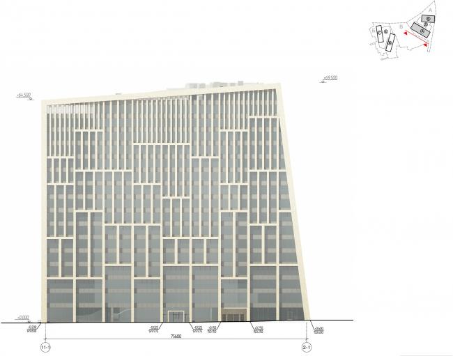 Гостинично-деловой комплекс на Рублево-Успенском шоссе. Участок «А», корпуса А,Б. Фасад © АМ Сергей Киселев и Партнеры