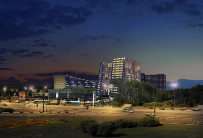 Гостинично-деловой комплекс на Рублево-Успенском шоссе. Фотовстройка © АМ Сергей Киселев и Партнеры