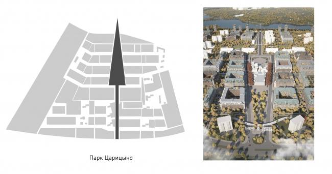 Район Царицыно. Центральная пространственная ось – зеленый бульвар © Студия 44