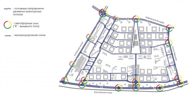 Район Царицыно. Схема движения транспорта с указанием направления движения © Студия 44