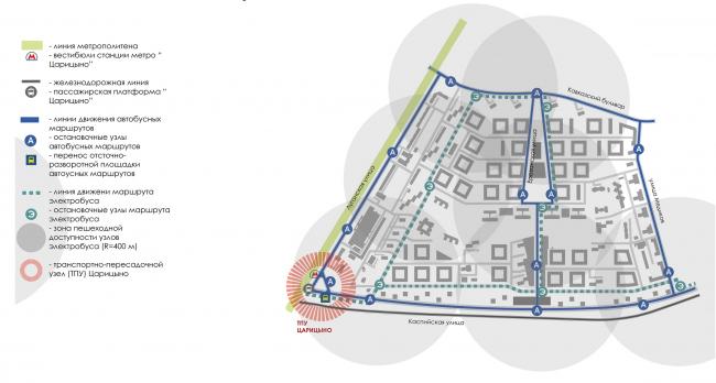 Район Царицыно. Схема обслуживания общественным транспортом © Студия 44