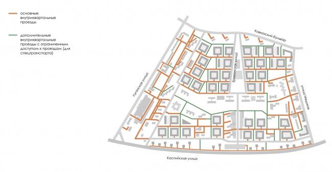 Район Царицыно. Схема внутриквартальных проездов © Студия 44