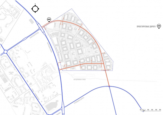 Architectural and town planning concept of housing construction in the city of Orenburg. The layout of the location plan; the road network  © Sergey Kisselev and Partners