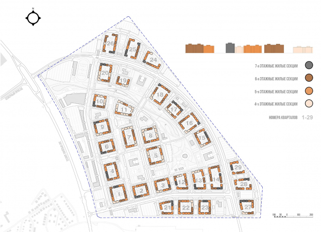 Architectural and town planning concept of housing construction in the city of Orenburg. The scheme of allocating the residential blocks with the numbers of floors indicated © Sergey Kisselev and Partners