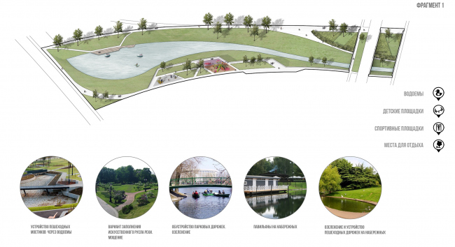 Architectural and town planning concept of housing construction in the city of Orenburg. The landscaping of the park area. Fragment 1 © Sergey Kisselev and Partners