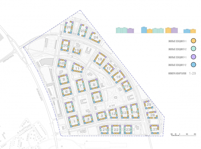 Architectural and town planning concept of housing construction in the city of Orenburg. The scheme of distributing the residential sections © Sergey Kisselev and Partners