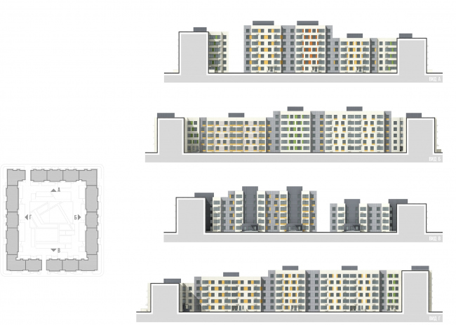 Architectural and town planning concept of housing construction in the city of Orenburg. The development drawing of the yard facades of Residential Block #1 © Sergey Kisselev and Partners