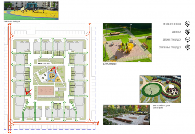 Architectural and town planning concept of housing construction in the city of Orenburg. Scheme of the master plan of Residential Block #1 with the landscaping part © Sergey Kisselev and Partners