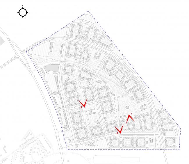 Архитектурно-градостроительная концепция территории жилой застройки в г. Оренбург. Схема размещения видовых точек © АМ Сергей Киселев и Партнеры