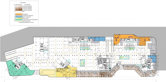 ЖК AQUATORIA. Поэтажные планы. Стилобат. Уровень -1 © ООО «Креаплюс»