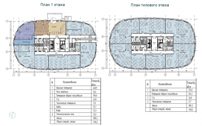 ЖК AQUATORIA. Поэтажные планы. Офисы (Блок А) © ООО «Креаплюс»