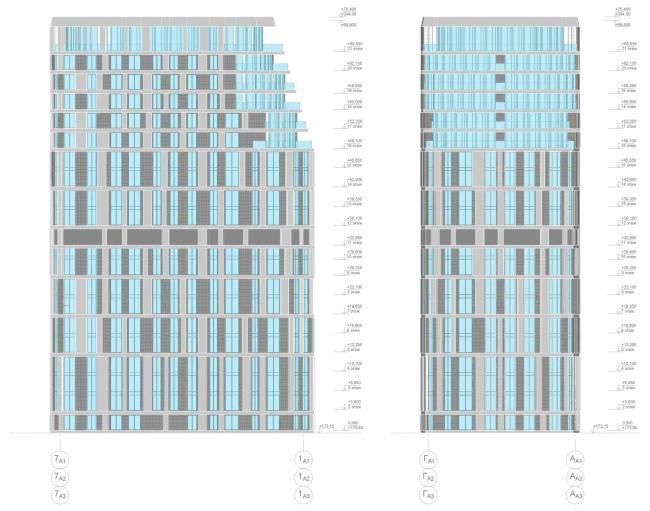 ЖК AQUATORIA. Схема фасадов. Альтернатива 1. Блок А © ООО «Креаплюс»