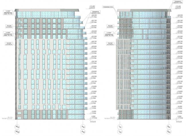 ЖК AQUATORIA. Схема фасадов. Альтернатива 1. Блок В © ООО «Креаплюс»