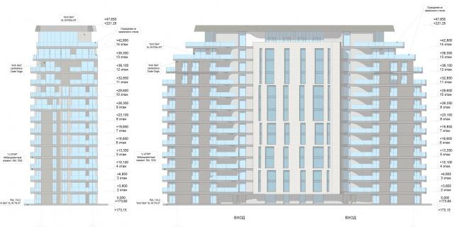 ЖК AQUATORIA. Схема фасадов. Альтернатива 1. Блок С © ООО «Креаплюс»