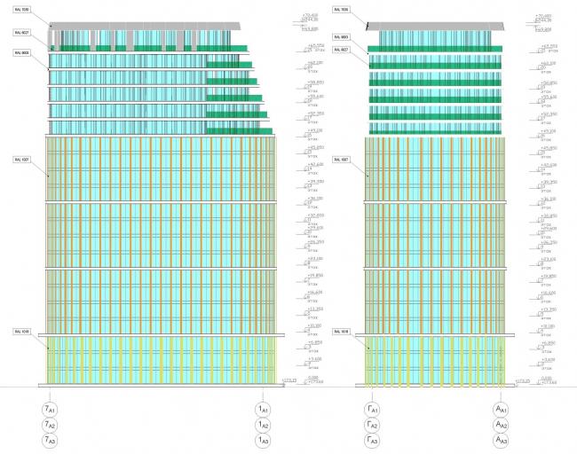 ЖК AQUATORIA. Схема фасадов. Альтернатива 2. Блок А © ООО «Креаплюс»