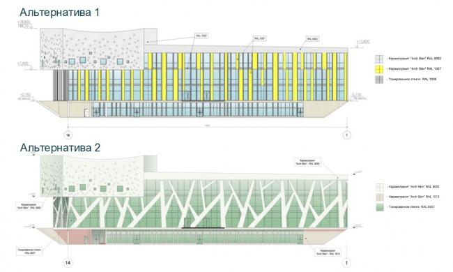 ЖК AQUATORIA. Учебный центр и ДОУ.  Схема фасада © kraaijvanger architects